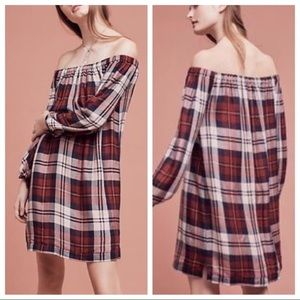Cloth & Stone Plaid Flannel Off the Shoulder Dress
